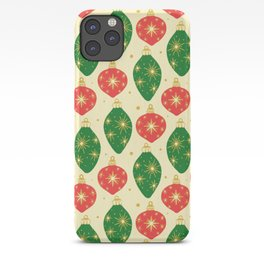 Vintage Festive Hand-painted Christmas Tree Ornaments with Beautiful Acrylic Texture, Green and Red iPhone Case