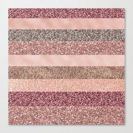 Modern abstract rose pink geometric stripes Canvas Print