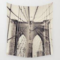 brooklyn bridge Wall Tapestries featuring Brooklyn Bridge - New York by Stefanoreves