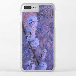 Pear Blossoms Lilac Clear iPhone Case