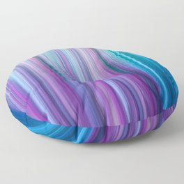 Abstract Purple and Teal Gradient Stripes Pattern Floor Pillow