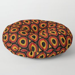Boho Peacock - Orange Black Floor Pillow