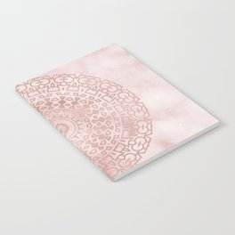 Misty pink marble rose gold mandala Notebook