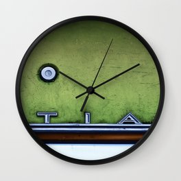 Textured Detail Of An Old Pontiac Junker In Neon Wall Clock