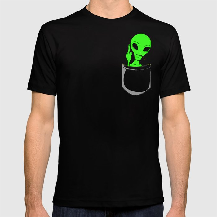 18daf57d420f Alien in a pocket smoking weed / blunt T-shirt by yourfreshdesigns ...