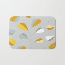 Mid Century Modern Graphic Leaves Pattern 2. Pastel Grey Bath Mat