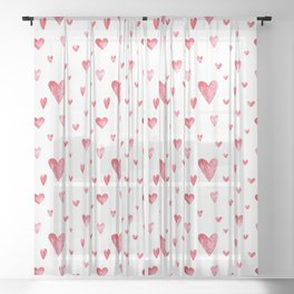 Watercolor print with hearts Sheer Curtain