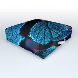 Peacock Blue Leaves Nature Background #decor #society6 #buyart Outdoor Floor Cushion