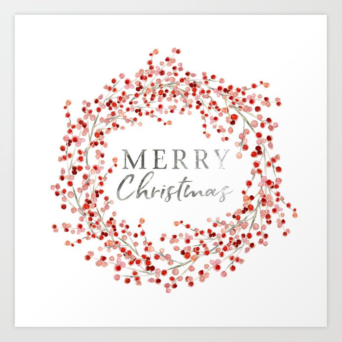Merry Christmas wreath. Red berry Kunstdrucke