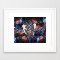 wallet Framed Art Prints featuring SPACE wallet by marzesu collages