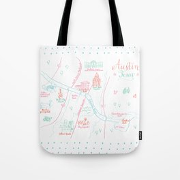 Austin, Texas Illustrated Calligraphy Map Tote Bag