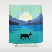 minimalist Shower Curtains featuring  Minimalist nature by Tony Vazquez