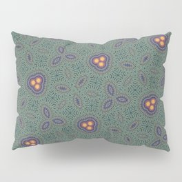 Bohemian Peacock and Leaf Thread Weave Pattern \\ Yellow Green Blue Purple Color Scheme Pillow Sham