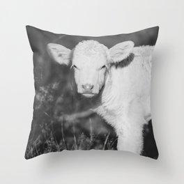 Cute Calf (Black and White) Throw Pillow