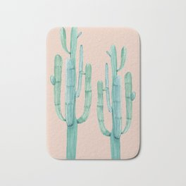Besties Cactus Friends Turquoise + Coral Bath Mat