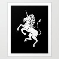 unicorn Art Prints featuring UNICORN by Matthew Taylor Wilson