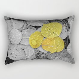 Colorized Aspen Leaves with Water Drops Rectangular Pillow