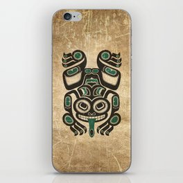 Teal Blue and Black Haida Spirit Tree Frog iPhone Skin