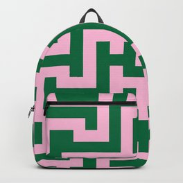 Cotton Candy Pink and Cadmium Green Labyrinth Backpack