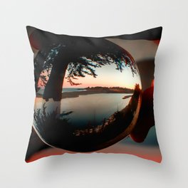 Holding a Sunrise refraction photography with a crystal ball Throw Pillow