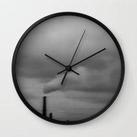 gray Wall Clocks featuring Gray by Kim Yuseung