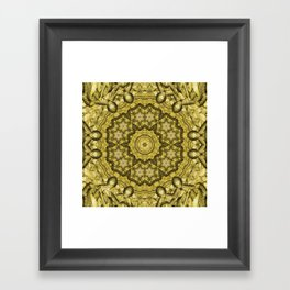 abstract massed wattle mandala in yellow Framed Art Print