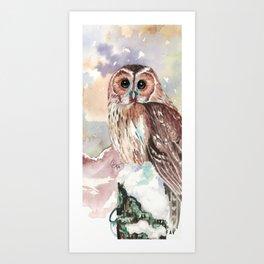 """No post on sundays"" - Owl in the snow Art Print"