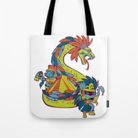mexican Tote Bags featuring Mexican Gods by Andrea ED