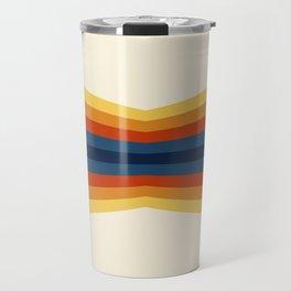 Bright 70's Retro Stripes Reflection Travel Mug