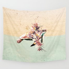 Turtle and bouquet Wall Tapestry