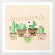 Kawaii Succulents Art Print