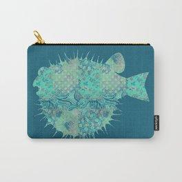 Blowfish, Pufferfish, Ballonfish, Toadies, Tropical Fish, Teal Aqua Mint Blue Carry-All Pouch