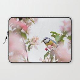 Little bird in beautiful flowering tree  worm in mouth Laptop Sleeve