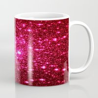 glitter Mugs featuring Hot Pink Glitter Stars by 2sweet4words Designs