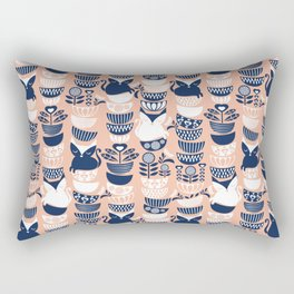 Swedish folk cats V // flesh background Rectangular Pillow