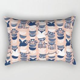 Swedish folk cats V // flesh background Rectangular Pillow