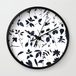 Leaves, black shapes, watercolor Wall Clock