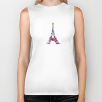 eiffel tower Biker Tanks featuring Eiffel Tower  by ron ashkenazi