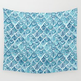 NAVY LIKE A MERMAID Fish Scales Watercolor Wall Tapestry