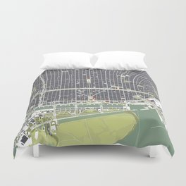 Buenos aires city map engraving Duvet Cover