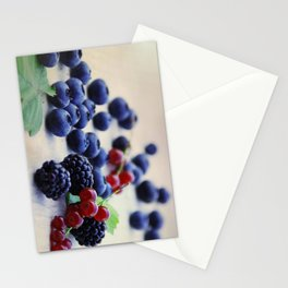 Fresh wild berries, blackberries, blueberries and currants in still life Stationery Cards