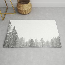 Winterland // Snowy Landscape Photography White Out Winter Pine Tree Artwork Rug