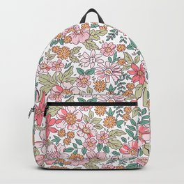Floral pattern. Liberty style. Vintage flowers. Backpack