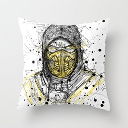 Scribble Scorpion Throw Pillow