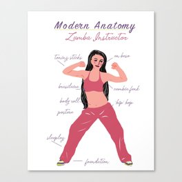 Modern Anatomy: Zumba Instructor Canvas Print