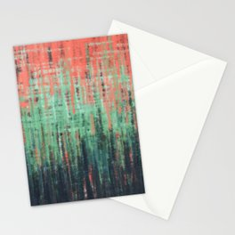 Coral Mint Navy Abstract Stationery Cards