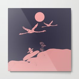 Flamingo Love Couple Metal Print