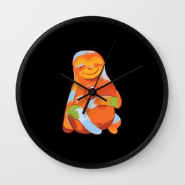 Colorful sloth holding  heart warm colors Wall Clock