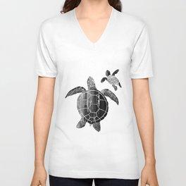 Shielded Love (black and white) Unisex V-Neck