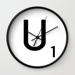 Letter U - Custom Scrabble Letter Tile Art - Scrabble U Initial Wall Clock